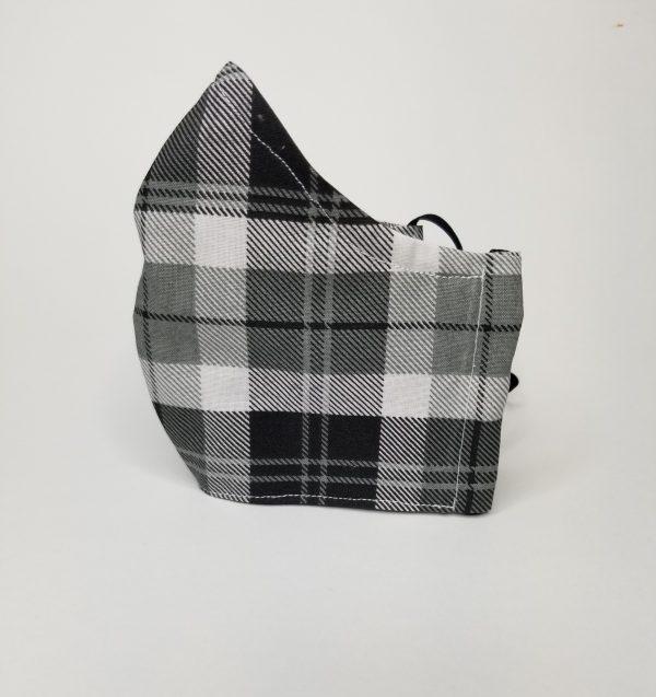 Grey, black plaid mask