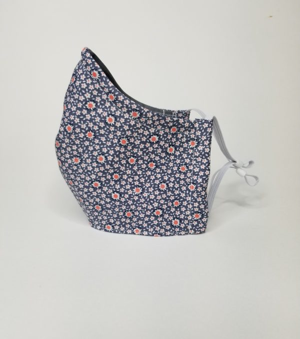 Blue with peach daisys mask