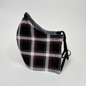 Black, red plaid mask